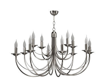 Lustre 12 lampes classique Cvl Chatelet Nickel Nickel Laiton massif