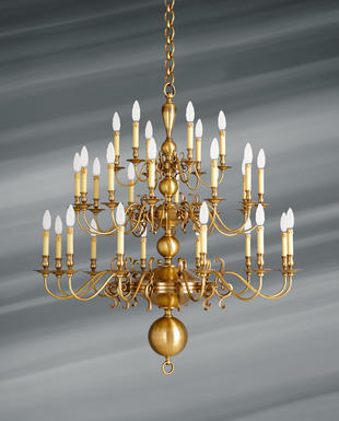 Lustre 30 lampes hollandais Lucien Gau Hollandais Antique Bronze
