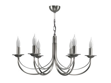 Lustre 6 lampes classique Cvl Chatelet Nickel Nickel Laiton massif