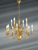 Lustre 12 lampes hollandais Lucien Gau Hollandais Antique Bronze