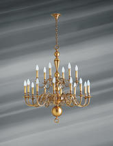 Lustre 18 lampes hollandais Lucien Gau Hollandais Antique Bronze