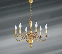 Lustre 6 lampes hollandais Lucien Gau Hollandais Antique Bronze