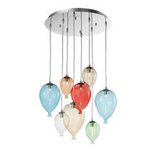 Suspensions 8 lampes design Ideal lux Clown Multicolore Métal