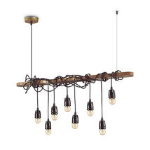 Lustre 8 lampes industriel Ideal lux Electric Marron Métal