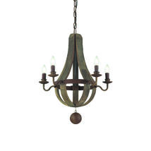 Lustre montagne 5 lampes design Ideal lux Millennium Antique Bois