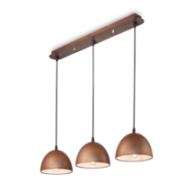 Suspension 3 lampes design Ideal lux Folk Rouille Métal