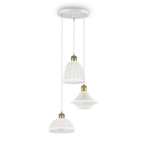 Suspension 3 lampes design Ideal lux Lugano Blanc Céramique
