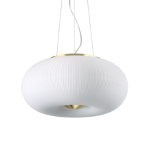 Suspension 3 lampes design Ideal lux Arizona Laiton Verre