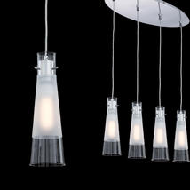 Suspension 4 lampes design Ideal lux Kuky Chrome Verre